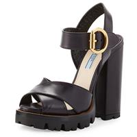 کفش زنانه پرادا - Crisscross Leather Platform Sandal, Black
