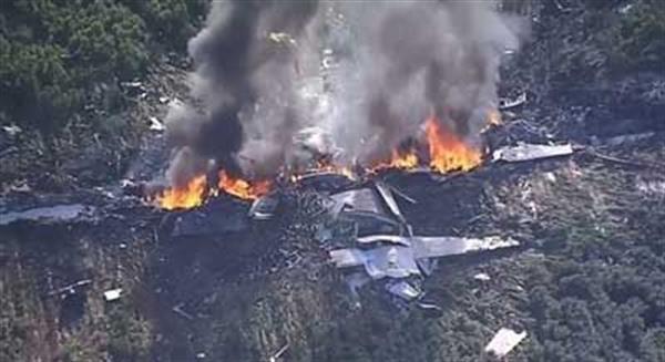 انفجار یک هواپیمای نظامی پر از مواد منفجره در آمریکا